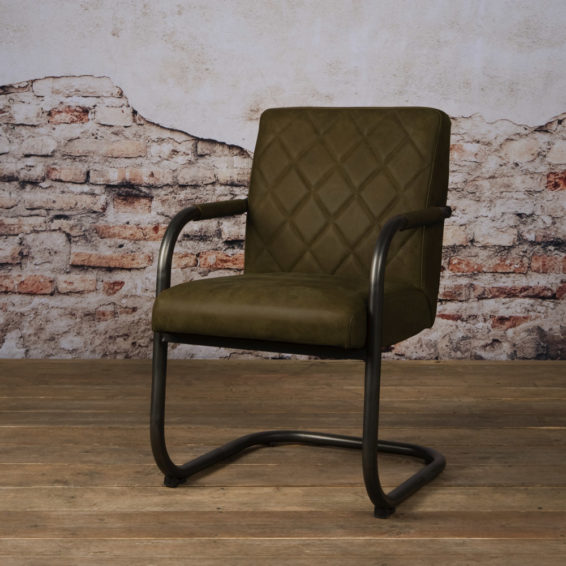 Tower Living Eetkamerstoel 'Buffalo' Leder Olive