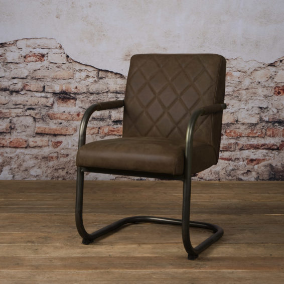 Tower Living Eetkamerstoel 'Buffalo' Leder taupe