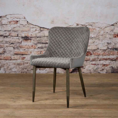 Tower Living Eetkamerstoel 'Oledo' Velvet - Buvel 14 grey