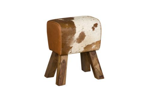 Tower Living RENEW - Kruk 'Paard' met koeienhuid - Bruin