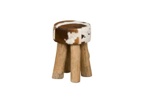 Tower Living RENEW - Ronde kruk met koeienhuid - Bruin-Wit (2)