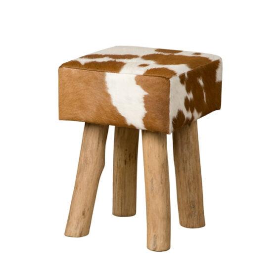 Tower Living RENEW - Vierkante kruk met koeienhuid - Bruin (2)