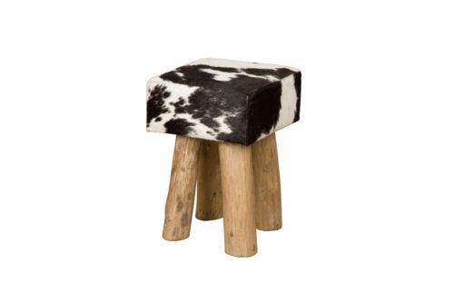 Tower Living RENEW - Vierkante kruk met koeienhuid - Zwart (2)