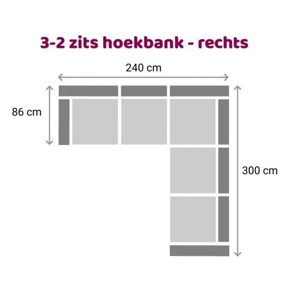 Zittz Angela Hoekbank 2-3 zits rechts
