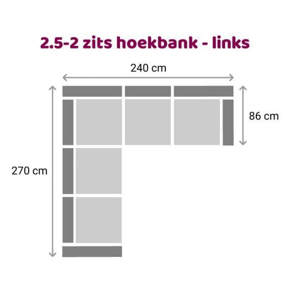 Zittz Angela Hoekbank 2,5-2 zits links