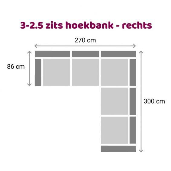 Zittz Angela Hoekbank 2,5-3 zits rechts