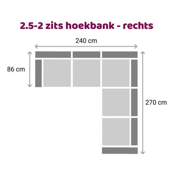 Zitzz Carmen Hoekbank 2-2,5 zits rechts