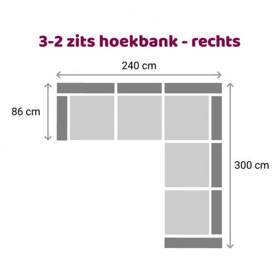 Zitzz Carmen Hoekbank 2-3 zits rechts
