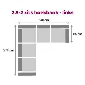 Hoekbank 2.5-2 zits - links