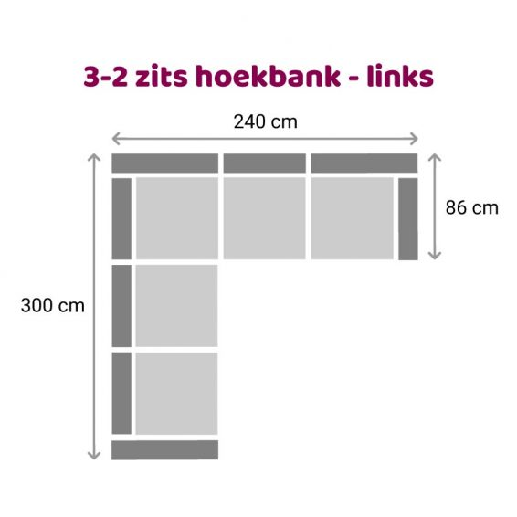 Zitzz Carmen Hoekbank 3-2 zits links