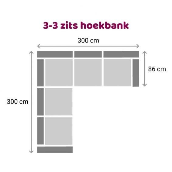 Zitzz Carmen Hoekbank 3-3 zits