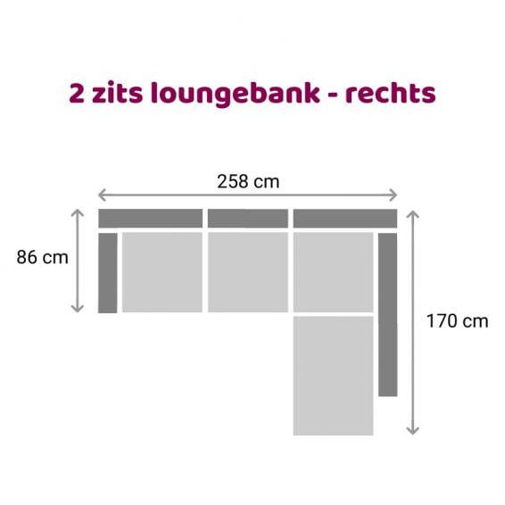 Zitzz Carmen - Loungebank - 2 zits rechts