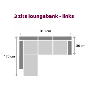 Loungebank 3 zits - links