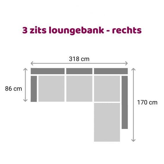 Zitzz Carmen - Loungebank - 3 zits rechts