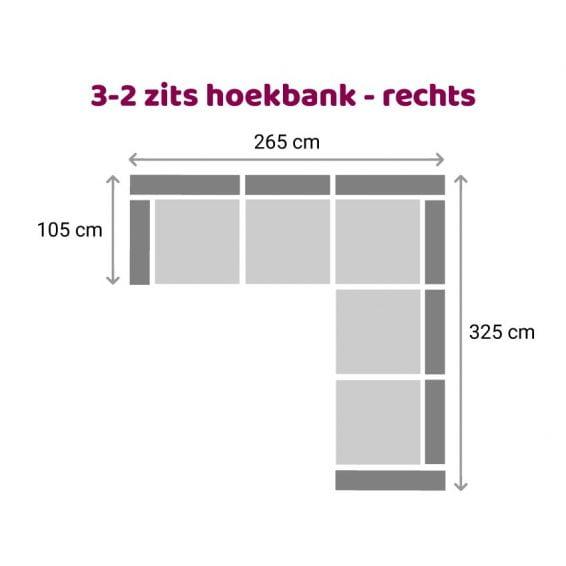 Zitzz Hamilton Hoekbank 2-3 zits rechts