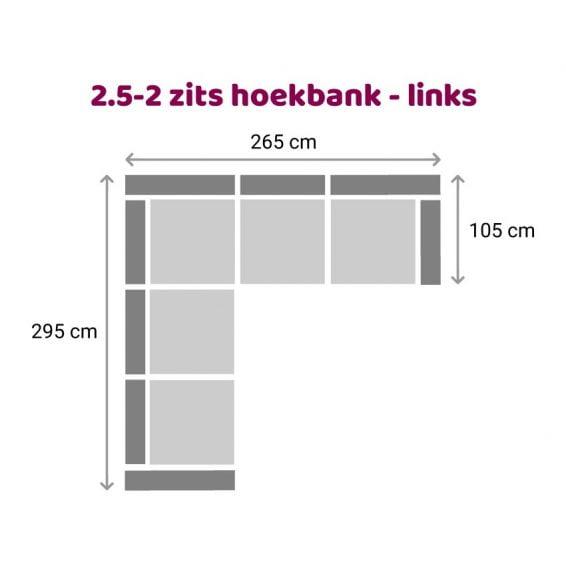 Zitzz Hamilton Hoekbank 2,5-2 zits - links