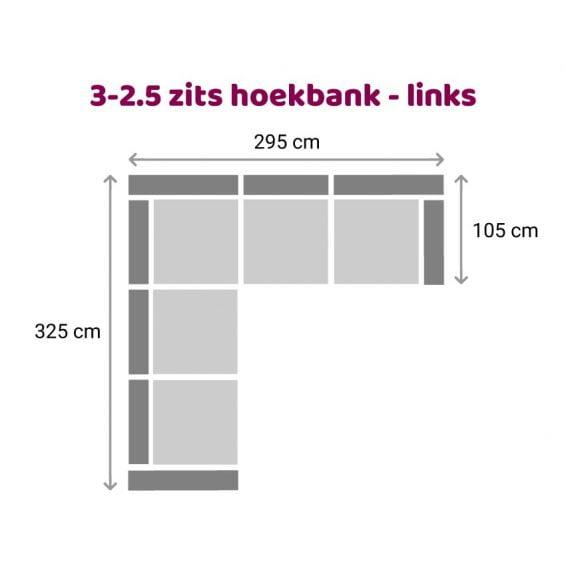 Zitzz Hamilton Hoekbank 3-2,5 zits - links