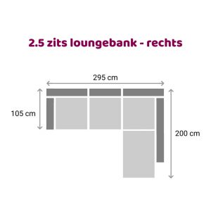 Loungebank 2.5 zits - rechts