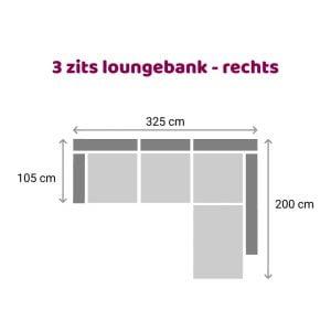 Loungebank 3 zits - rechts