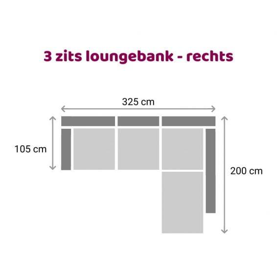 Zitzz Hamilton Longchair 3-zits - rechts