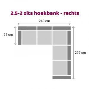 Hoekbank 2-2.5 zits - rechts