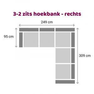 Hoekbank 2-3 zits - rechts