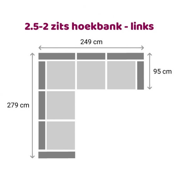Zitzz Maya - Hoekbank 2,5-2 zits links