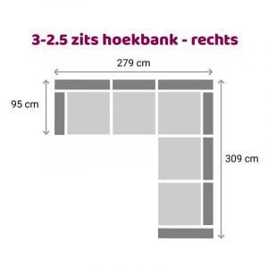 Hoekbank 2.5-3 zits - rechts