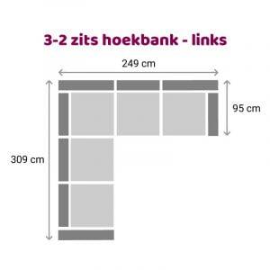 Hoekbank 3-2 zits - links