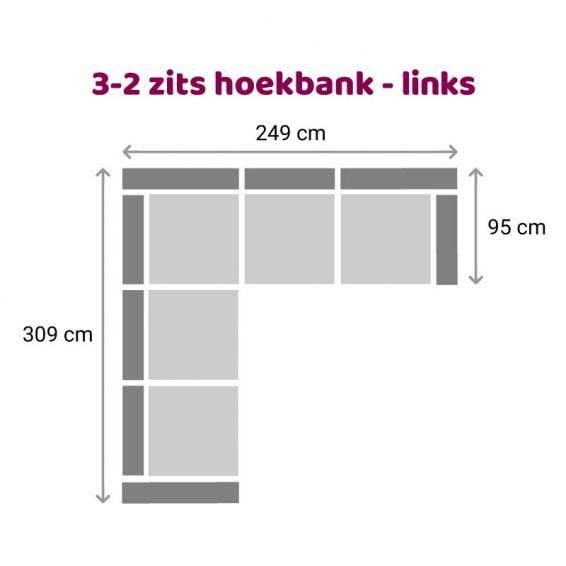 Zitzz Maya - Hoekbank 3-2 zits links