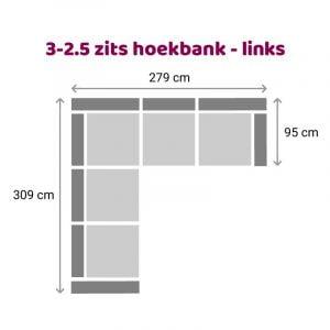 Hoekbank 3-2.5 zits - links