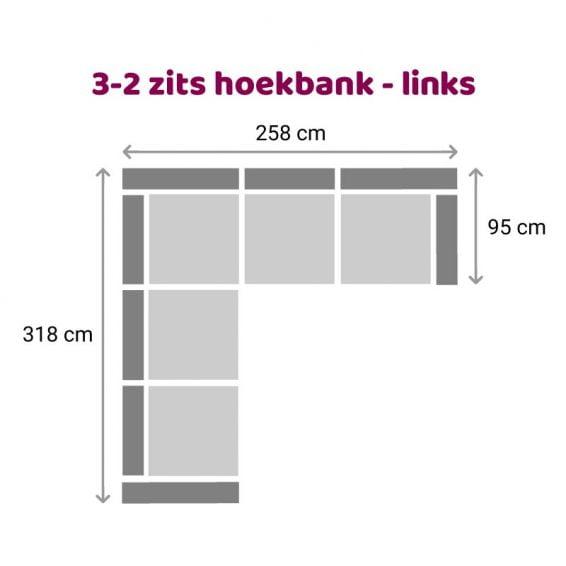 Zitzz Tanita Hoekbank 3-2 zits links