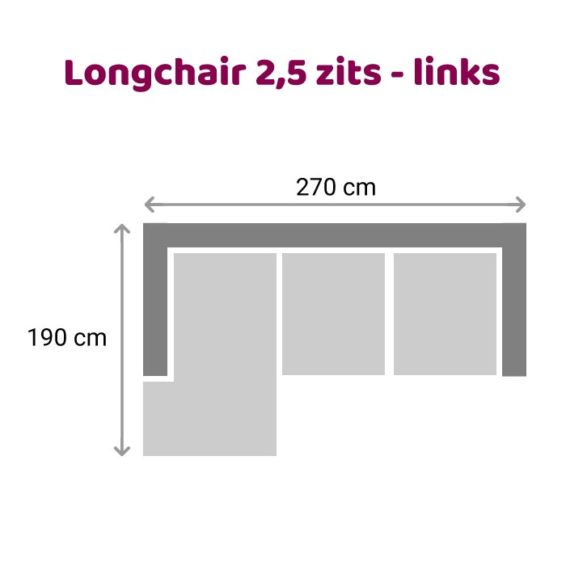 Zitzz Leola - Loungebank - 2,5-zits links