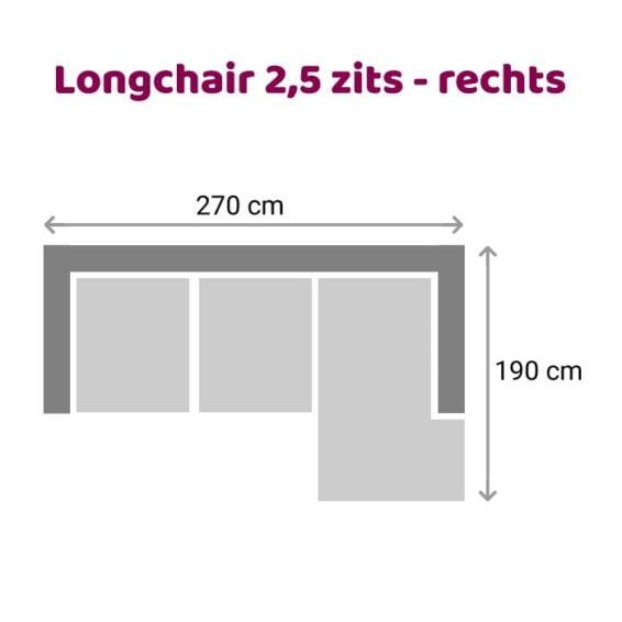 Zitzz Leola - Loungebank - 2,5-zits - rechts