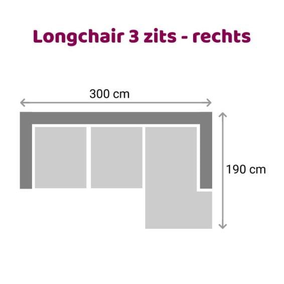Zitzz Leola - Loungebank - 3-zits - rechts