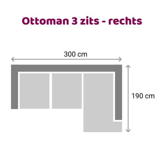 Leola - Ottoman - 3-zits - rechts