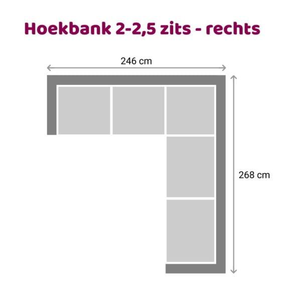 Zitzz Vettel - Hoekbank 2-2,5 zits rechts