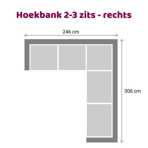 Zitzz Vettel Hoekbank 2-3 zits rechts