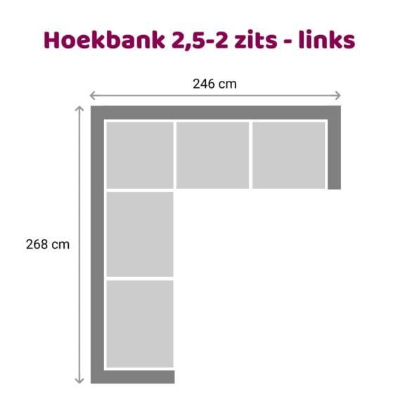 Zitzz Vettel - Hoekbank 2,5-2 zits links