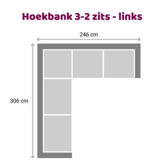 Zitzz Vettel Hoekbank 3-2 zits links