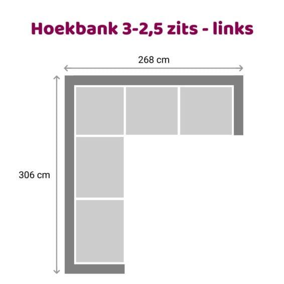 Zitzz Vettel - Hoekbank 3-2,5 zits links