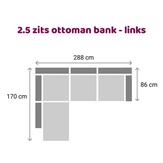 Zitzz Carmen - Ottoman 2,5 zits links