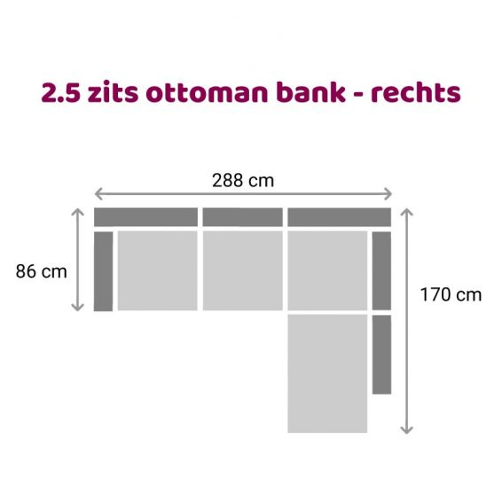 Zitzz Carmen - Ottoman 2,5 zits rechts
