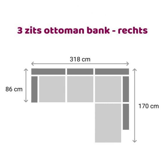 Zitzz Carmen - Ottoman 3 zits rechts