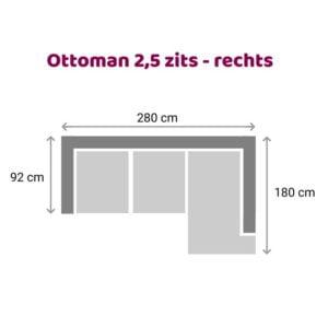 Ottoman 2.5 zits - rechts