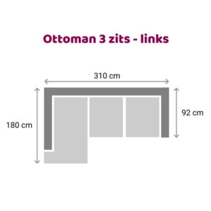 Ottoman 3 zits - links