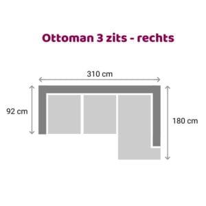 Ottoman 3 zits - rechts