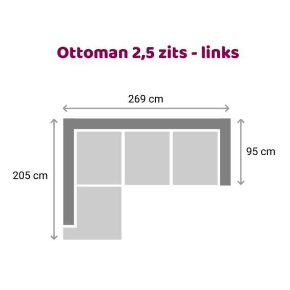 Tower Living SIDD - Baltimore - Ottoman 2,5 zits - Links