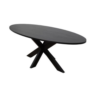 Zwarte Ovale Eiken Eettafel Rustiek