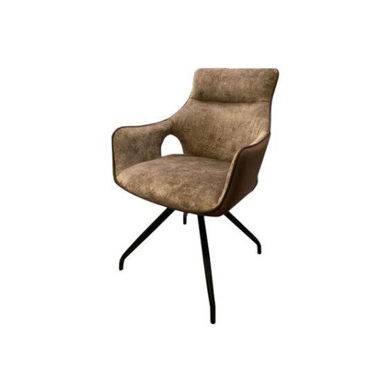 Tower Living - Eetkamerstoel Nola swivel - Brown velvet 8196-9 - fabric 7501-3